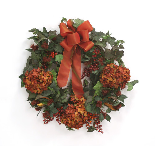 Distinctive Designs Fall Wreath with Hydrangeas and Berries