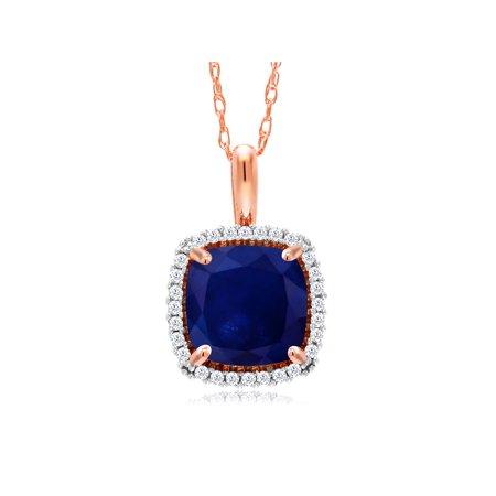 10K Rose Gold 2.20 Ct Cushion Blue Sapphire Diamond Pendant with 18