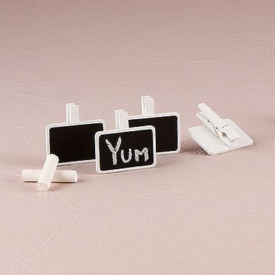 Miniature Rectangular Wooden Black Board Clip with White Wash Finish (Woman Black Miniature)