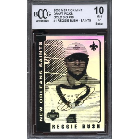 Reggie Bush Draft (2006 merrick mint draft picks gold sig /499 #1 REGGIE BUSH rookie BGS BCCG)