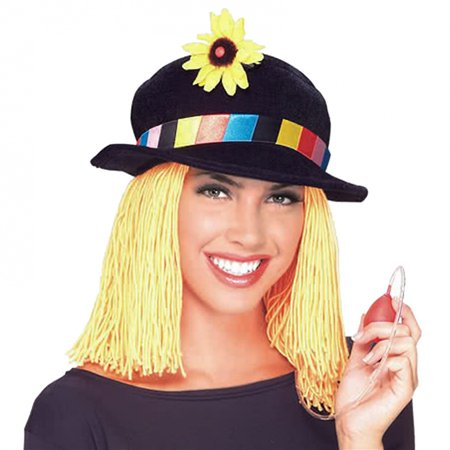Yellow Clown Wig (Clown Hat with Yellow Wig Adult Costume)