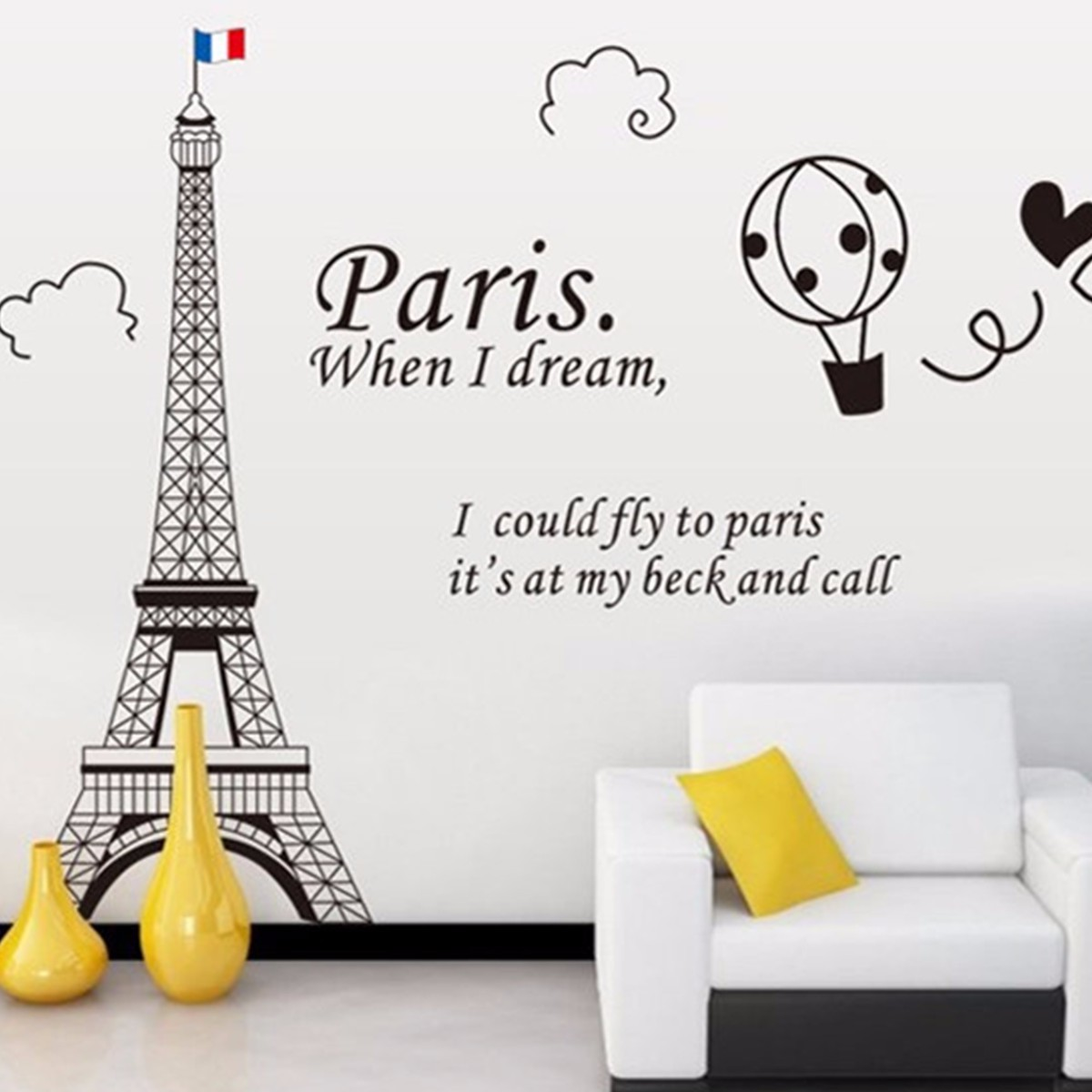 Eiffel tower wall decor mobile and retail wall sticker home decor removable paris eiffel tower wall sticker art decal mural diy decor home bedroom 60x90cm amipublicfo Images