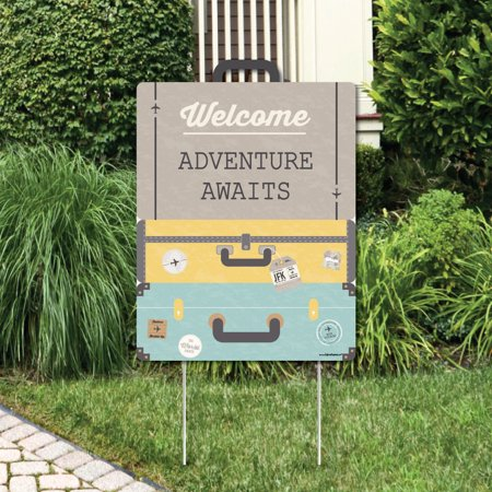 World Awaits - Party Decorations - Travel Themed Bridal Shower, Birthday or Retirement Party Welcome Yard Sign for $<!---->