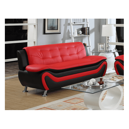 Frady Black and Red Faux Leather Modern Living Room Sofa