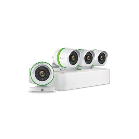 EZVIZ 1080p Smart Outdoor Wired Security Camera System, 4 Weatherproof HD Security Cameras, 4 Channel 1TB DVR Storage, 100ft Night Vision, Customizable Motion