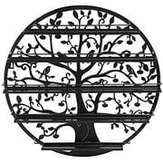 JMiles UH-PT248 Tree Silhouette Black Round Metal Wall Mounted 5 Tier Salon Nail Polish Rack Holder / Wall Art Display