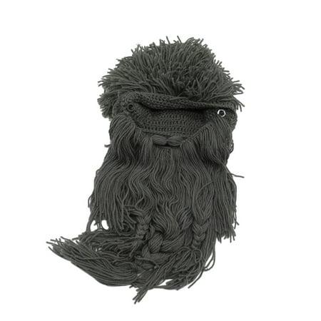 Viking Beard Hats (Funny Wig Long Beard Viking Wool Cap Winter Woven Hats Knitted Wind Skull Ski Cap Cosplay)