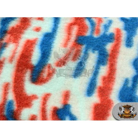 American USA Fleece Printed Fabric * SPLASH RED BLUE * / 58
