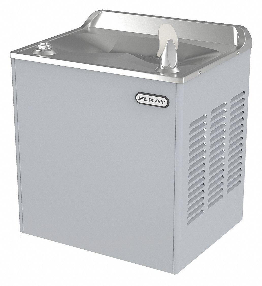 Refrigerated Wall Water Cooler, 1 Level, Top Push Button Dispenser Operation