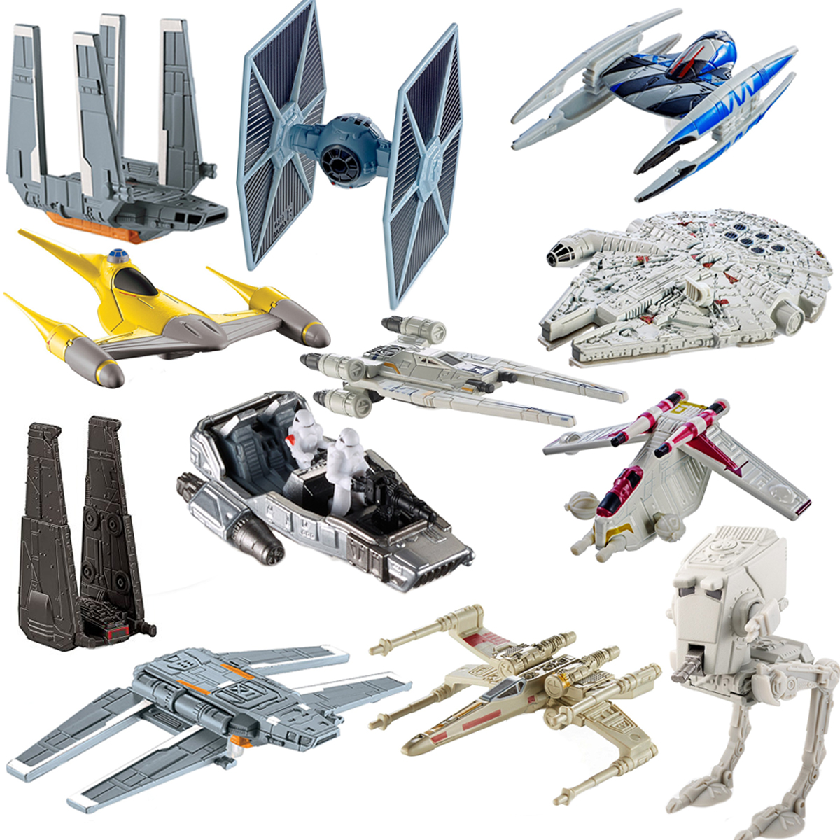 Star Wars (12 Pack) Hot Wheels Spaceship Models Toys Set Figures & Stands Mattel by Hot Wheels