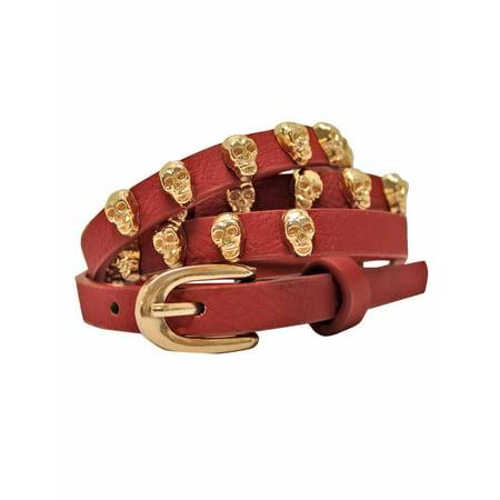 Skinny Golden Skull Studded Belt