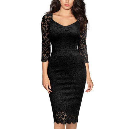 Women's Formal Work Pencil Dresses,Vintage Floral Lace Cocktail Party Bodycon Dresses (Black,2XL) Black Gown Long Dress