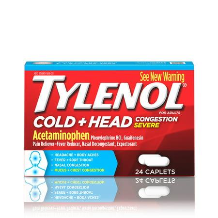 Tylenol ; Cold + Head Congestion Severe, Caplets, 24 (Severe Congestion)