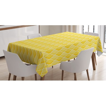 - Yellow Decor Tablecloth, Quatrefoil Moroccan Themed Oval Geometric Ombre Pattern Artwork, Rectangular Table Cover for Dining Room Kitchen, 60 X 90 Inches, Yellow Merigold and White, by Ambesonne