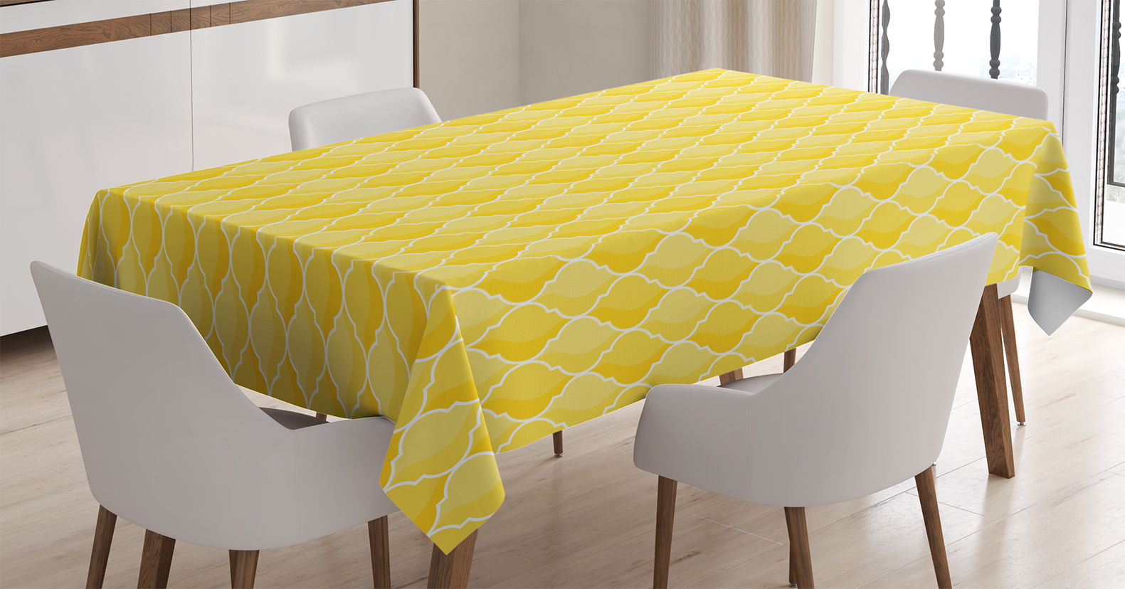 Yellow Decor Tablecloth, Quatrefoil Moroccan Themed Oval Geometric Ombre  Pattern Artwork, Rectangular Table Cover