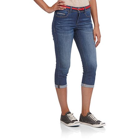 Faded Glory Women's Classic Denim Belted Cuffed Capris - Walmart.com