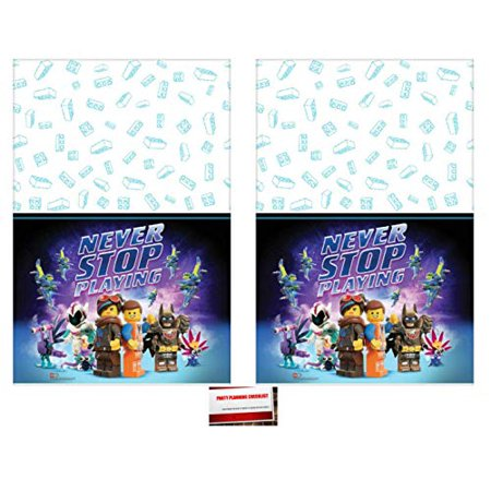 Never Stop Playing Lego Movie Part 2 Birthday Party Supplies Plastic Table Cover (2 Pack), 54 x 96 Inches (Plus Party Planning Checklist by Mikes Super Store) - Birthday Part
