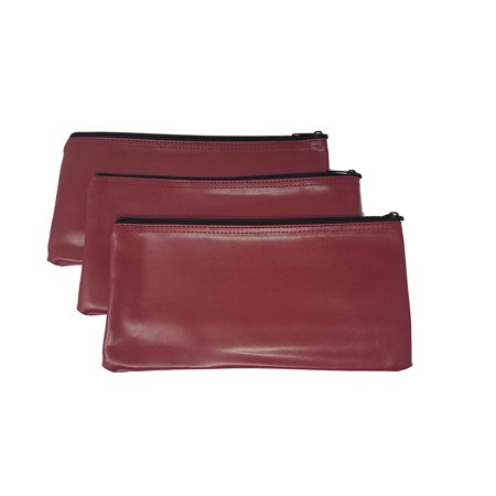 3 Piece Set PM Company Security Bank Deposit Bag / Utility Zipper Coin Bag / Pouch Safe Money Organizer Bag / 11 X 5.5 Inches (FREE RETURN) (BANK BAG-PACK OF 3 - Maroon)](Money Pouches)
