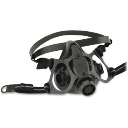 North 7700 Series Half Mask - Largesilicone, Woven Strap - 1 Each - Black (770030l)