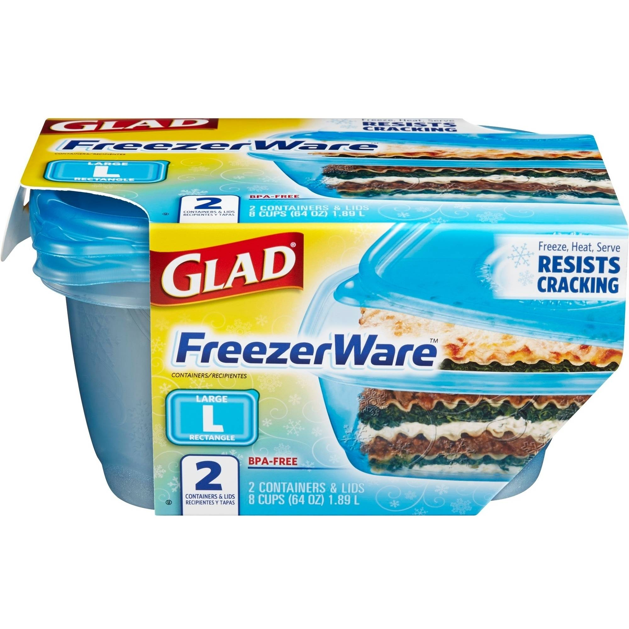 Glad Food Storage Containers, FreezerWare, Large, 64 oz, 2 Count, BPA Free