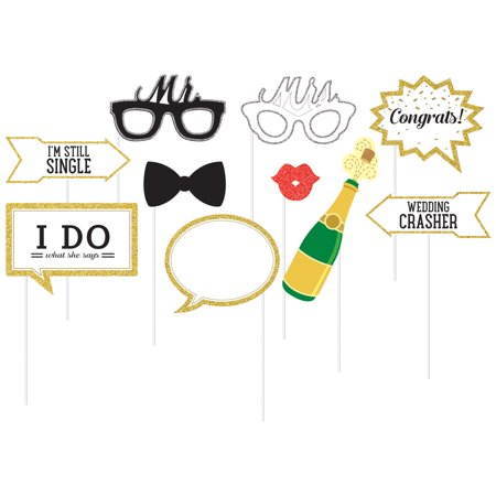 Wedding Photo Booth Props, 10 pk