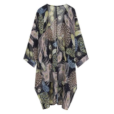 Womens Casual Floral Print Long Sleeve Chiffon Cardigan Loose Kimono Blouse