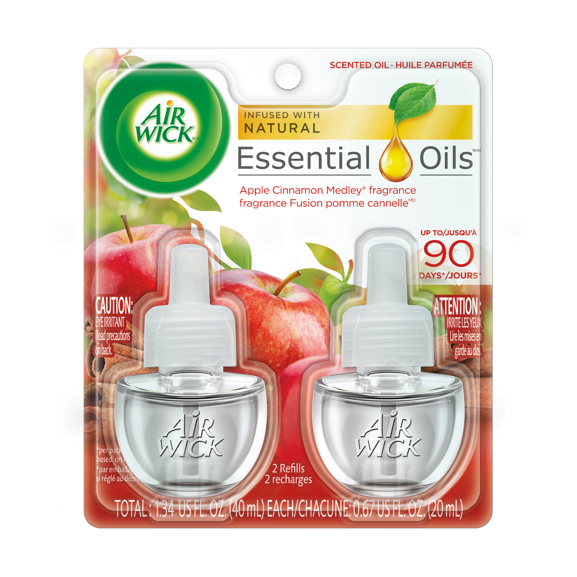 Air Wick Scented Oil 2 Refills, Apple Cinnamon Medley, (2X0.67oz), Air Freshener