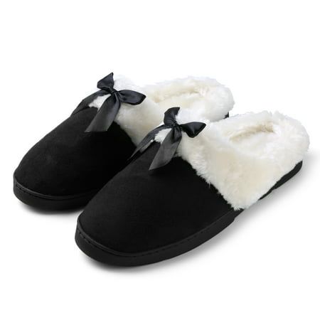Rubber Sole Bow - Women's Soft and Cozy Ribbon Bow Plush Slippers With No-Slip Rubber Sole For Indoor, Outdoor, Spa Use (Black)
