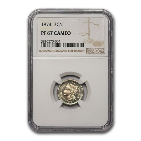 1874 Three Cent Nickel PF-67 Cameo NGC Clad Ngc Pf70 Ultra Cameo