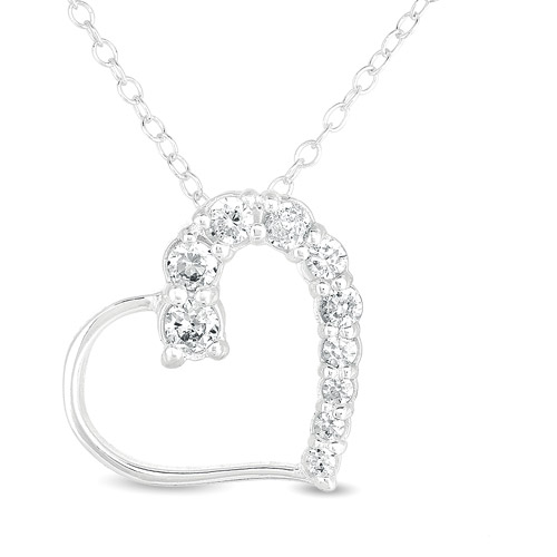 "CZ Sterling Silver Heart Pendant, 18"""