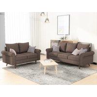 US Pride Furniture Eleazer Apartment Matte Velvet Fabric 2 Piece Living Room Set, Brown