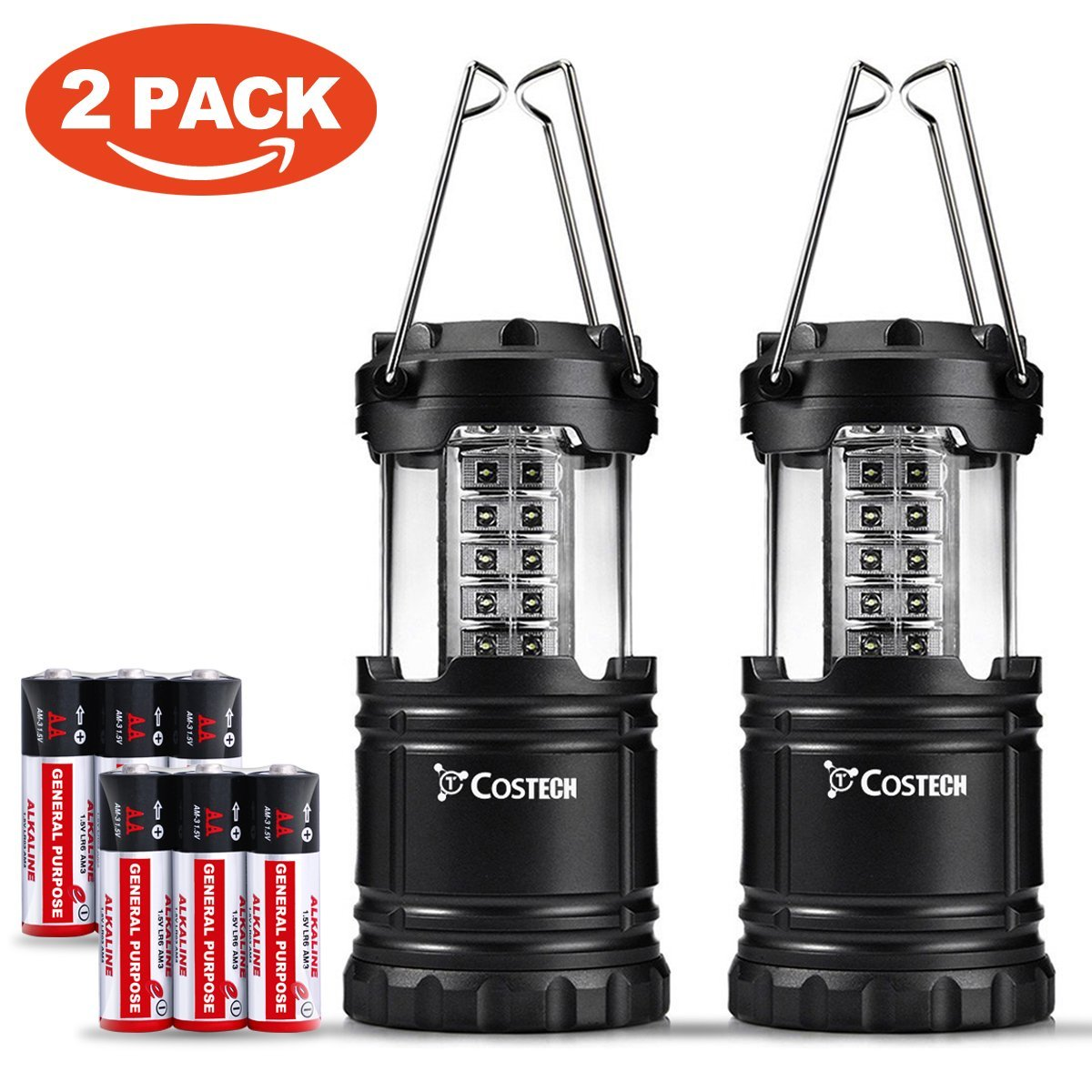 Costech Ultra Bright Camping Lantern, 30 LED Portable Outdoor Lights, Hanging Flashlight Camping Gear Equipment with Batteries, Set of 2