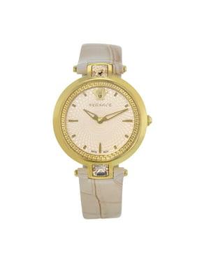 Pre-Owned Versace Olympo Pink Dial Gold Tone Stainless Steel Quartz Ladies Watch VAN050016