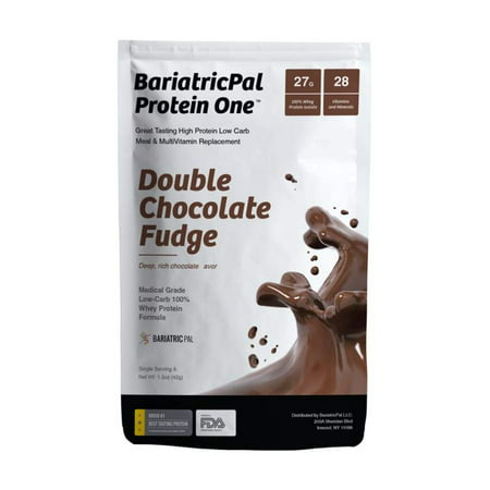 BariatricPal Protein One MultiVitamin, Calcium, Iron, Fiber & Meal Replacement - Double Chocolate Fudge