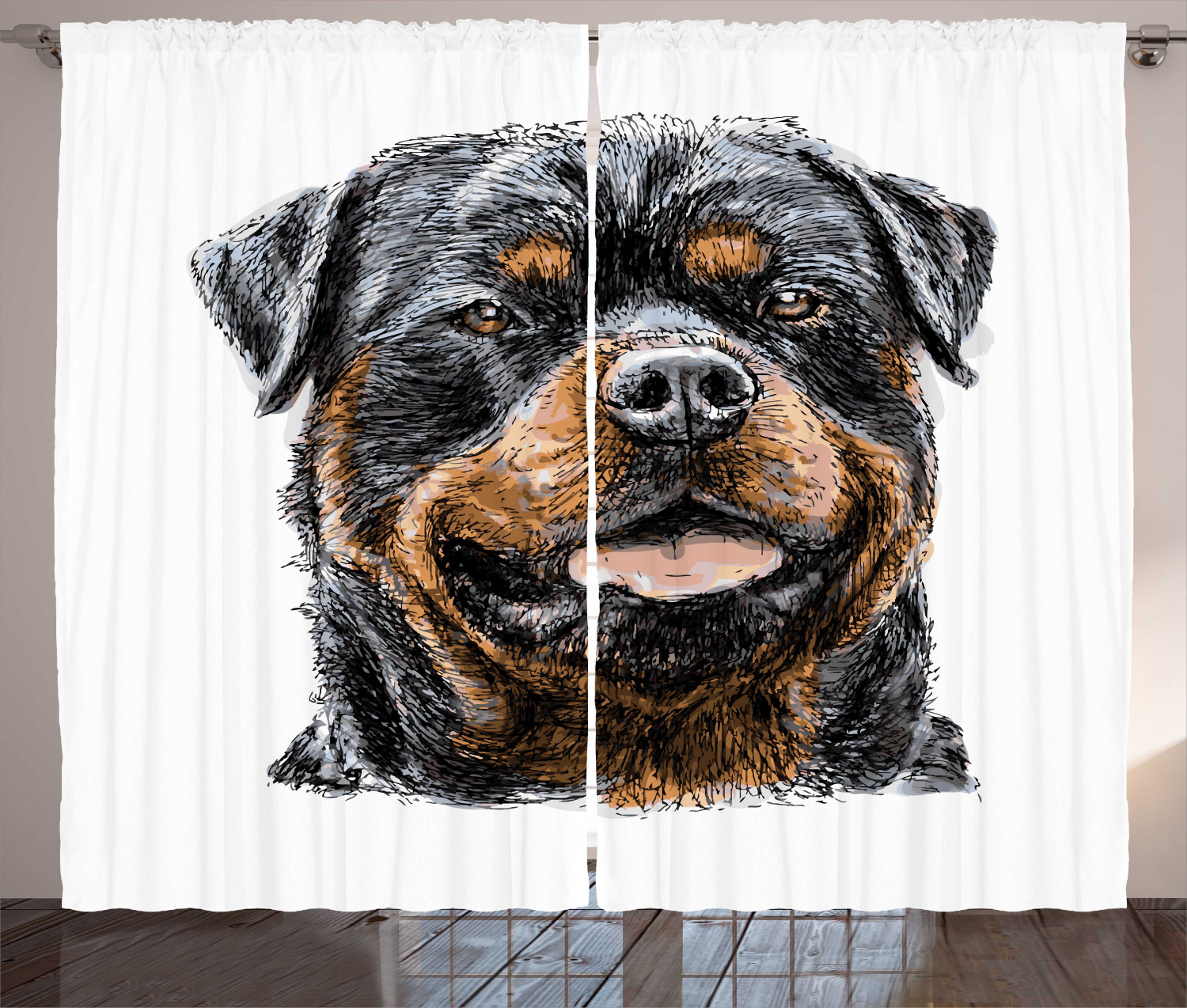 Rottweiler Curtains 2 Panels Set Hand Drawn Image Of Dog Type Realistic And Furry Window Drapes For Living Room Bedroom 108 W X 108 L Pale Cinnamon Tan And Dark Chestnut Brown By Ambesonne