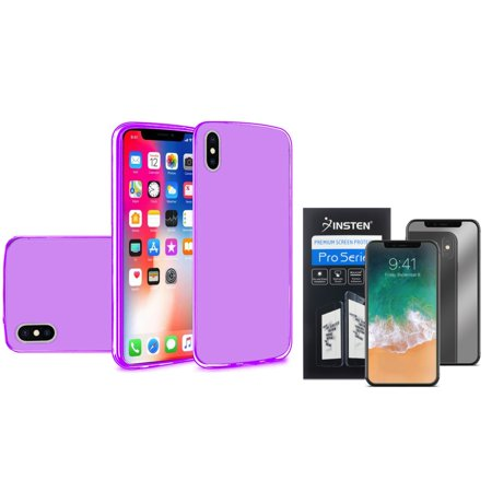 Insten TPU Gel Case Cover For Apple iPhone X 2017, Purple (Combo with Mirror Screen (Case Mirror Screen Protector)
