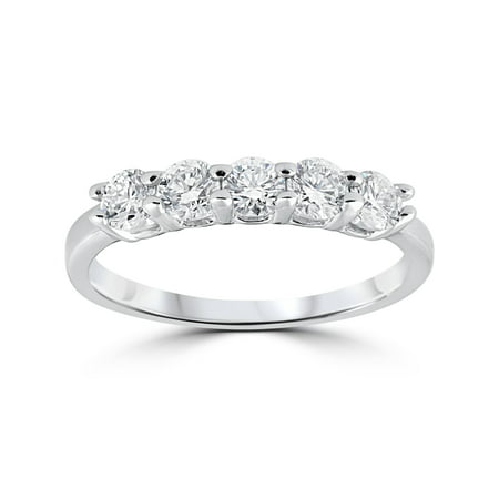(Five Stone Ring Engagement Band Genuine Round Cut Diamond SI1 0.50 Ct 14K Gold)