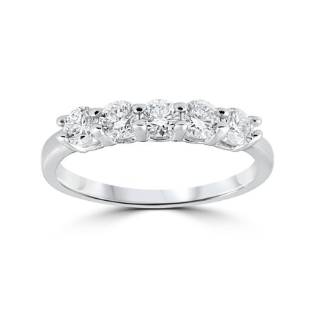 Five Stone Ring Engagement Band Genuine Round Cut Diamond SI1 0.50 Ct 14K Gold