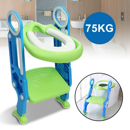 Terrific Baby Potty Toilet Seat With Step Stool Ladder Trainer For Kids Toddlers Handles Non Slip Folding Seat Adjustable Gamerscity Chair Design For Home Gamerscityorg