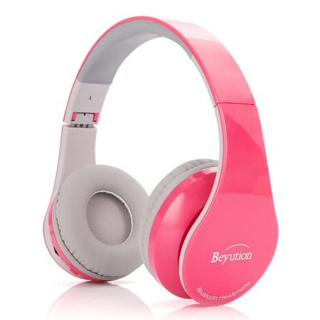 90d60c7897f Beyution V4.1 Bluetooth Headphones Wireless Foldable Hi-fi Stereo Headphone  with Micphone for Smart Phones & Tablets - Pink - Walmart.com