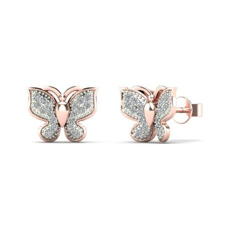 Tdw Diamond Flower Earrings (aaXia 10K Rose Gold 1/10ct TDW Diamond Butterfly Stud Earrings )