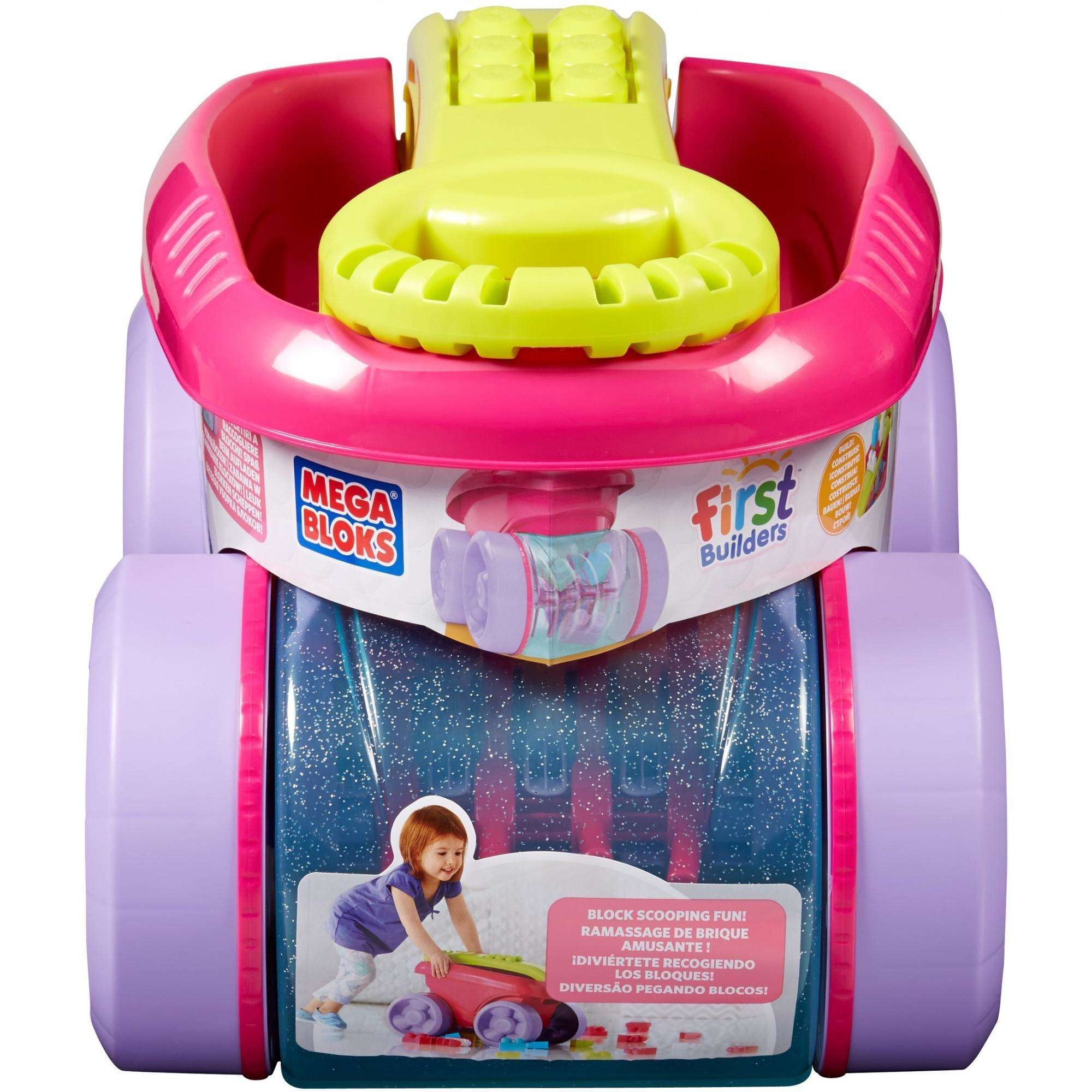 Mega Bloks First Builders Block Scooping Fun Wagon Building Set, Pink | CNK33 by Generic