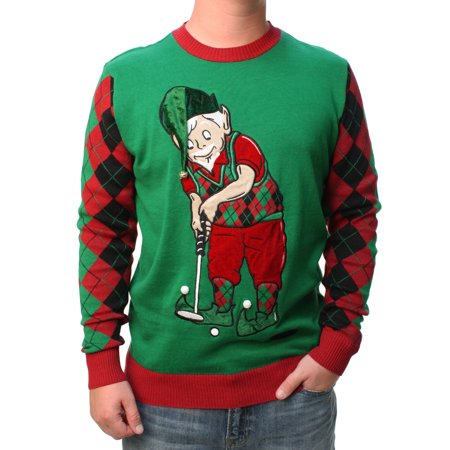Joker Christmas Sweater.Ugly Christmas Sweater Men S Golfing Elf 3d Hat With Real Bell Felt Embossed Pullover Sweatshirt