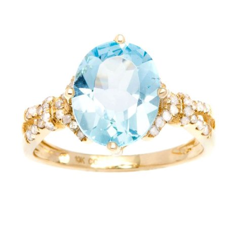10k Yellow Gold 2.40ct Oval Blue Topaz and Diamond Ring (1/6 cttw)