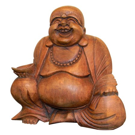 "Happy Buddha Statue Laughing Buddha Wood Sculpture Lucky - LG. 8""- OMA BRAND"