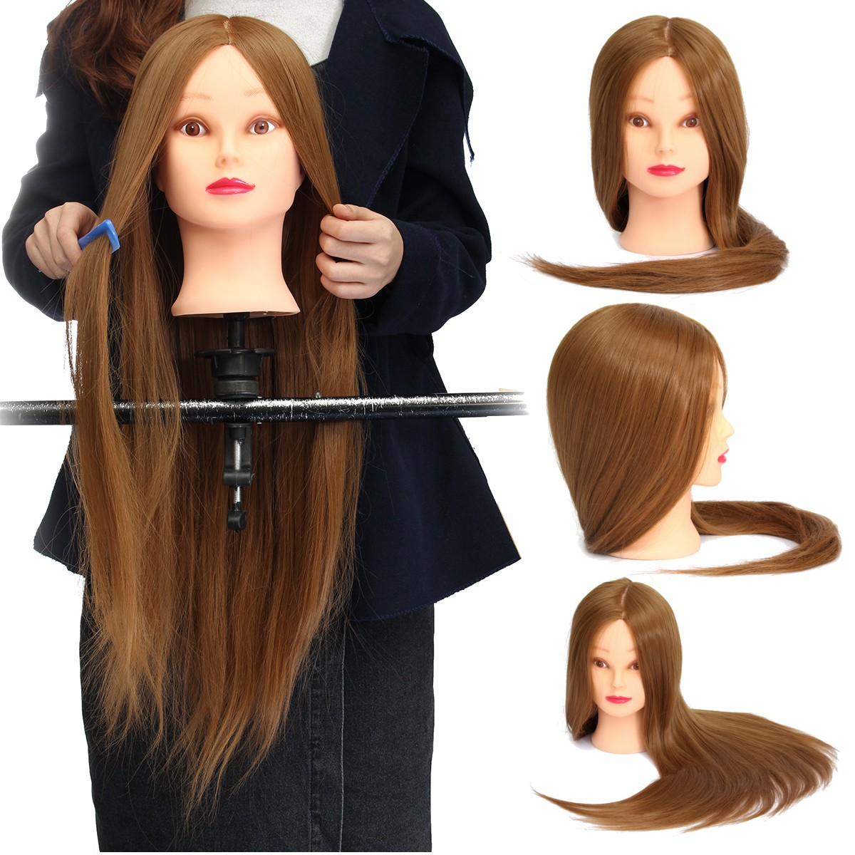 "26"" Salon Cosmetology Hair Hairdressing Training Head Mannequin With Clamp"