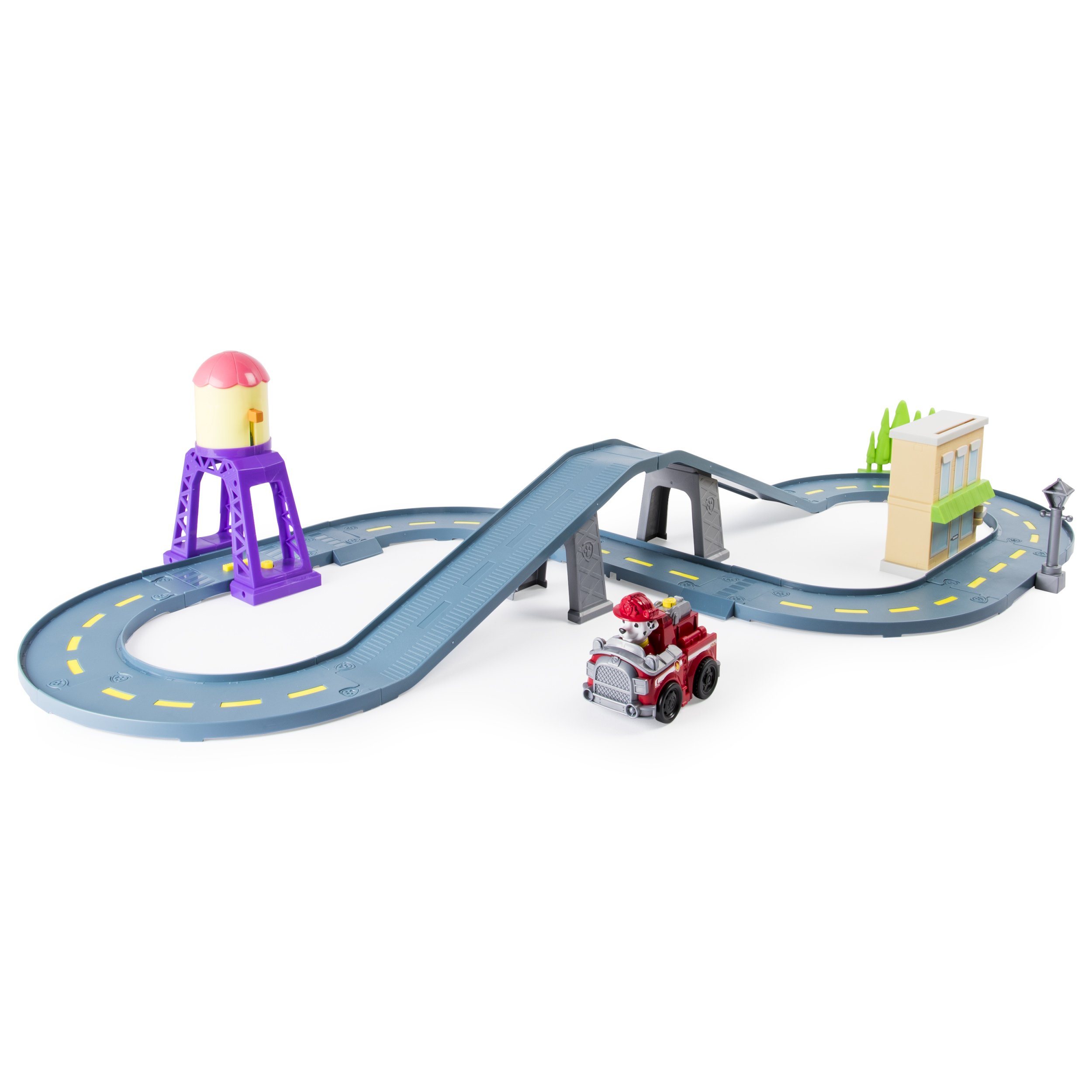 <p>Paw Patrol Roll Patrol – Marshall's Town Rescue Track Set with Exclusive Motorized Vehicle with Lights and Sounds</p>