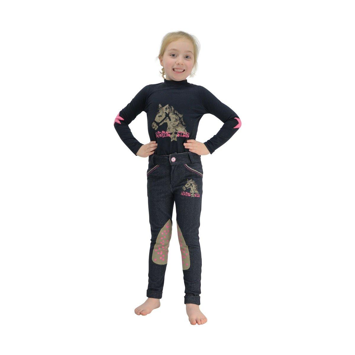 3-4 Years Little Rider Childrens//Girls Riding Star Long Sleeved Top Navy