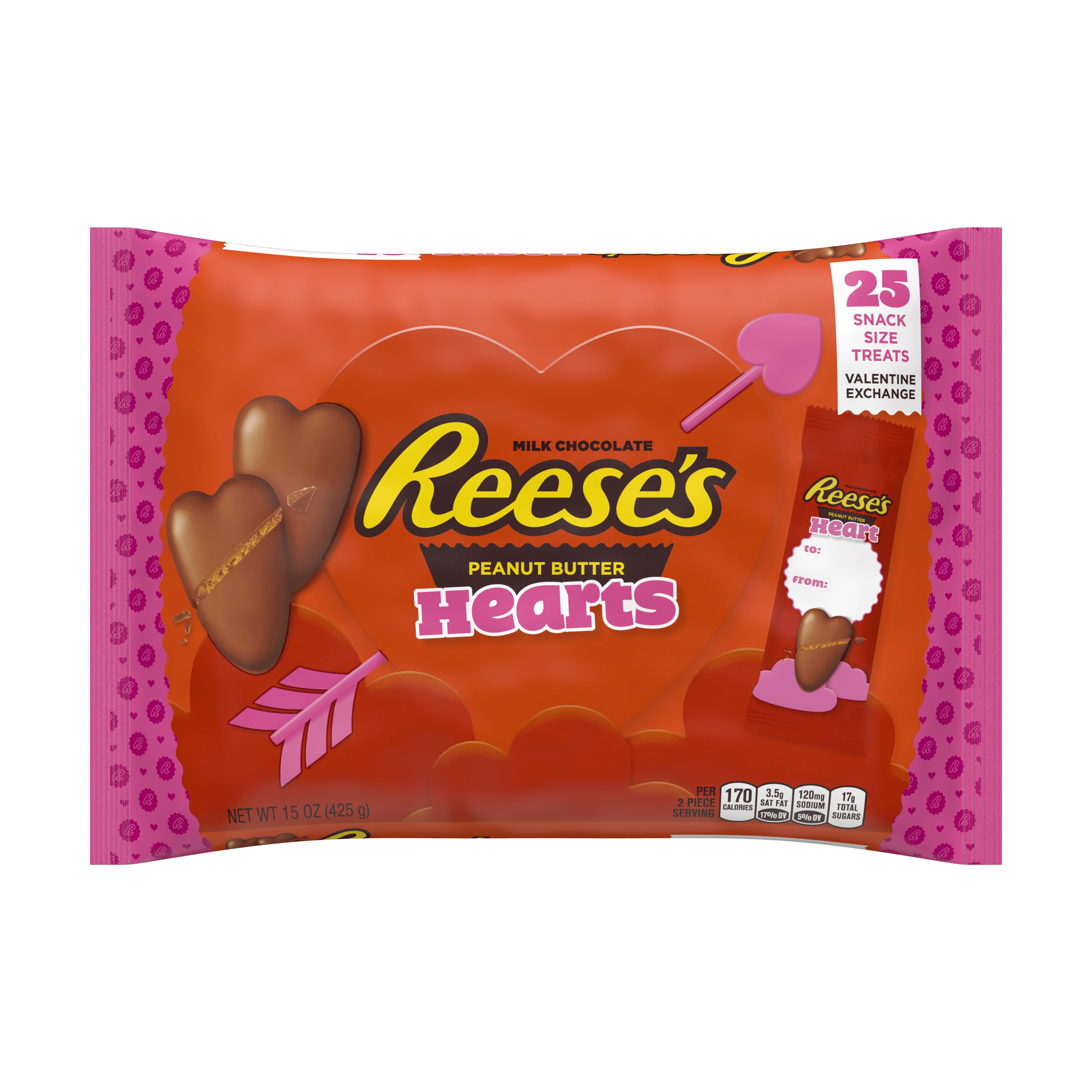 Reese's, Valentine Exchange Chocolate and Peanut Butter Hearts Candy, 25 Count, 15 Oz.