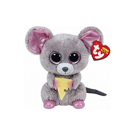 """New TY Beanie Boos -Squeaker the Gray Mouse With Cheese (Glitter Eyes) Small 6"""" Plush"""